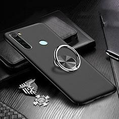 Custodia Plastica Rigida Cover Opaca con Magnetico Anello Supporto P01 per Xiaomi Redmi Note 8T Nero