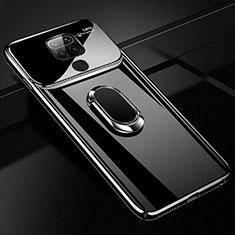 Custodia Plastica Rigida Cover Opaca con Magnetico Anello Supporto P01 per Xiaomi Redmi Note 9 Nero