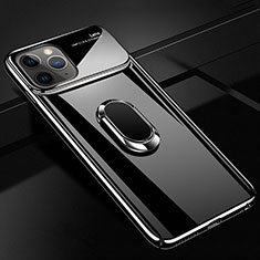 Custodia Plastica Rigida Cover Opaca con Magnetico Anello Supporto P02 per Apple iPhone 11 Pro Max Nero