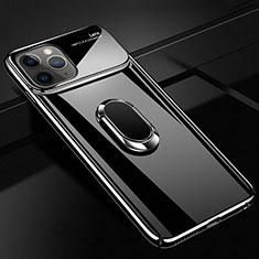Custodia Plastica Rigida Cover Opaca con Magnetico Anello Supporto P02 per Apple iPhone 11 Pro Nero