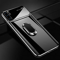 Custodia Plastica Rigida Cover Opaca con Magnetico Anello Supporto P02 per Huawei P30 Pro Nero