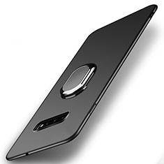 Custodia Plastica Rigida Cover Opaca con Magnetico Anello Supporto P02 per Samsung Galaxy S10 Nero