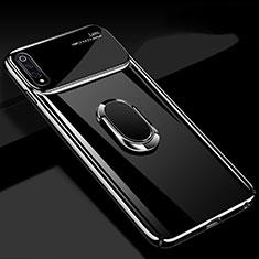 Custodia Plastica Rigida Cover Opaca con Magnetico Anello Supporto P02 per Xiaomi Mi A3 Nero