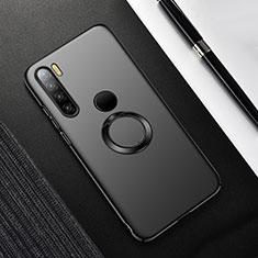 Custodia Plastica Rigida Cover Opaca con Magnetico Anello Supporto P02 per Xiaomi Redmi Note 8T Nero