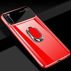 Custodia Plastica Rigida Cover Opaca con Magnetico Anello Supporto P03 per Xiaomi Redmi Note 8T Rosso