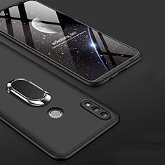 Custodia Plastica Rigida Cover Opaca Fronte e Retro 360 Gradi con Anello Supporto per Huawei Honor 10 Lite Nero
