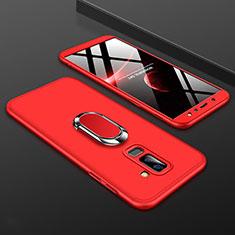 Custodia Plastica Rigida Cover Opaca Fronte e Retro 360 Gradi con Anello Supporto per Samsung Galaxy A6 Plus Rosso
