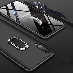 Custodia Plastica Rigida Cover Opaca Fronte e Retro 360 Gradi con Anello Supporto per Samsung Galaxy A70 Nero