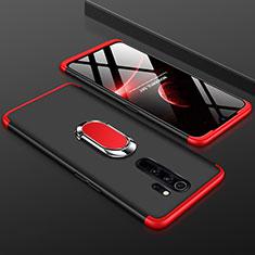 Custodia Plastica Rigida Cover Opaca Fronte e Retro 360 Gradi con Anello Supporto per Xiaomi Redmi Note 8 Pro Rosso e Nero