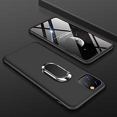 Custodia Plastica Rigida Cover Opaca Fronte e Retro 360 Gradi con Anello Supporto R01 per Apple iPhone 11 Pro Nero