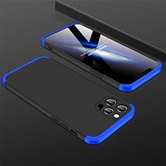 Custodia Plastica Rigida Cover Opaca Fronte e Retro 360 Gradi M01 per Apple iPhone 12 Pro Max Blu e Nero