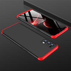 Custodia Plastica Rigida Cover Opaca Fronte e Retro 360 Gradi M01 per Oppo Reno4 4G Rosso e Nero