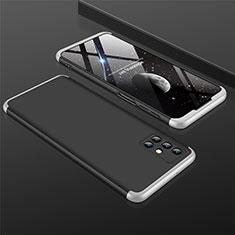 Custodia Plastica Rigida Cover Opaca Fronte e Retro 360 Gradi M01 per Samsung Galaxy M31s Argento e Nero