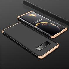 Custodia Plastica Rigida Cover Opaca Fronte e Retro 360 Gradi M01 per Samsung Galaxy S10 Oro e Nero
