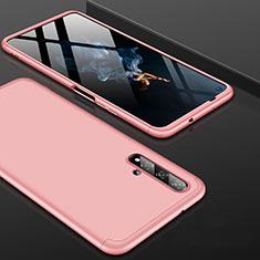 Custodia Plastica Rigida Cover Opaca Fronte e Retro 360 Gradi P01 per Huawei Honor 20 Oro Rosa