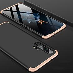 Custodia Plastica Rigida Cover Opaca Fronte e Retro 360 Gradi P01 per Huawei Honor 20 Pro Oro e Nero