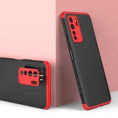 Custodia Plastica Rigida Cover Opaca Fronte e Retro 360 Gradi P01 per Huawei P40 Lite 5G Rosso e Nero