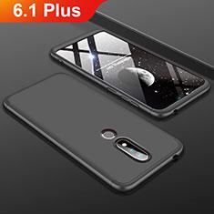Custodia Plastica Rigida Cover Opaca Fronte e Retro 360 Gradi P01 per Nokia 6.1 Plus Nero