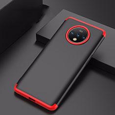 Custodia Plastica Rigida Cover Opaca Fronte e Retro 360 Gradi P01 per OnePlus 7T Rosso e Nero