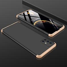 Custodia Plastica Rigida Cover Opaca Fronte e Retro 360 Gradi P01 per Samsung Galaxy A51 5G Oro e Nero