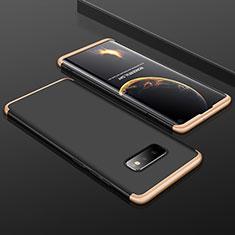 Custodia Plastica Rigida Cover Opaca Fronte e Retro 360 Gradi P01 per Samsung Galaxy S10e Oro e Nero