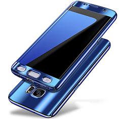 Custodia Plastica Rigida Cover Opaca Fronte e Retro 360 Gradi P01 per Samsung Galaxy S7 Edge G935F Blu
