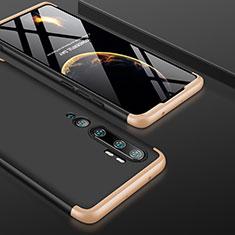 Custodia Plastica Rigida Cover Opaca Fronte e Retro 360 Gradi P01 per Xiaomi Mi Note 10 Oro e Nero