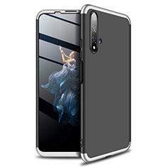 Custodia Plastica Rigida Cover Opaca Fronte e Retro 360 Gradi P02 per Huawei Honor 20 Argento