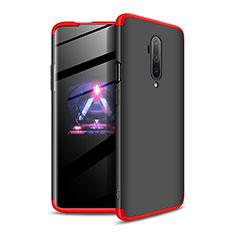 Custodia Plastica Rigida Cover Opaca Fronte e Retro 360 Gradi P02 per OnePlus 7T Pro Rosso e Nero