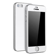 Custodia Plastica Rigida Cover Opaca Fronte e Retro 360 Gradi per Apple iPhone SE Argento