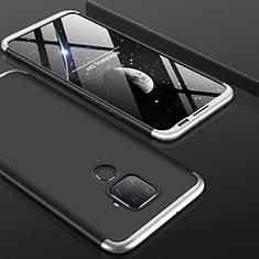 Custodia Plastica Rigida Cover Opaca Fronte e Retro 360 Gradi per Huawei Mate 30 Lite Argento e Nero