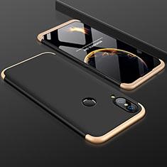 Custodia Plastica Rigida Cover Opaca Fronte e Retro 360 Gradi per Huawei P20 Lite Oro e Nero