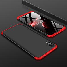 Custodia Plastica Rigida Cover Opaca Fronte e Retro 360 Gradi per Huawei Y7 Pro (2019) Rosso e Nero
