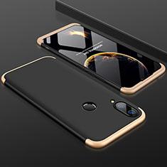 Custodia Plastica Rigida Cover Opaca Fronte e Retro 360 Gradi per Huawei Y9 (2019) Oro e Nero