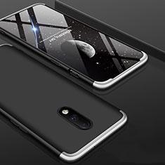 Custodia Plastica Rigida Cover Opaca Fronte e Retro 360 Gradi per OnePlus 7 Argento e Nero
