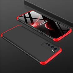 Custodia Plastica Rigida Cover Opaca Fronte e Retro 360 Gradi per OnePlus Nord Rosso e Nero