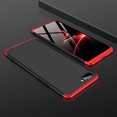 Custodia Plastica Rigida Cover Opaca Fronte e Retro 360 Gradi per Oppo A12e Rosso e Nero