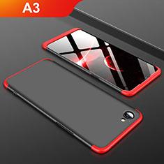 Custodia Plastica Rigida Cover Opaca Fronte e Retro 360 Gradi per Oppo A3 Rosso e Nero