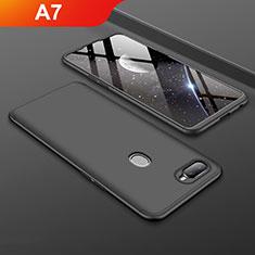 Custodia Plastica Rigida Cover Opaca Fronte e Retro 360 Gradi per Oppo A7 Nero