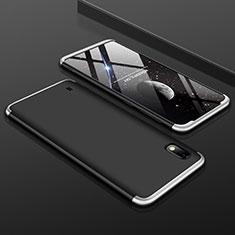 Custodia Plastica Rigida Cover Opaca Fronte e Retro 360 Gradi per Samsung Galaxy A10 Argento e Nero