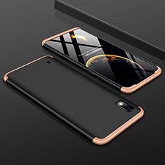 Custodia Plastica Rigida Cover Opaca Fronte e Retro 360 Gradi per Samsung Galaxy A10 Oro e Nero