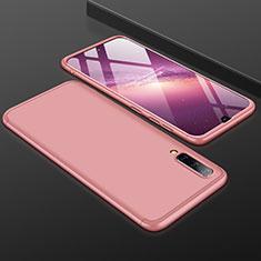 Custodia Plastica Rigida Cover Opaca Fronte e Retro 360 Gradi per Samsung Galaxy A50 Oro Rosa