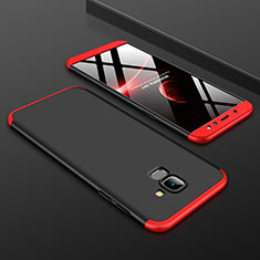 Custodia Plastica Rigida Cover Opaca Fronte e Retro 360 Gradi per Samsung Galaxy A6 (2018) Dual SIM Rosso e Nero