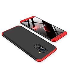 Custodia Plastica Rigida Cover Opaca Fronte e Retro 360 Gradi per Samsung Galaxy A6 Plus (2018) Rosso e Nero
