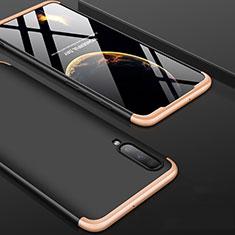 Custodia Plastica Rigida Cover Opaca Fronte e Retro 360 Gradi per Samsung Galaxy A70 Oro e Nero