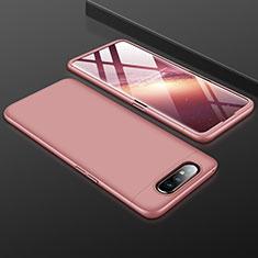 Custodia Plastica Rigida Cover Opaca Fronte e Retro 360 Gradi per Samsung Galaxy A80 Oro Rosa