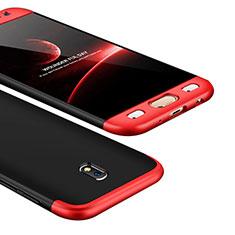 Custodia Plastica Rigida Cover Opaca Fronte e Retro 360 Gradi per Samsung Galaxy J5 (2017) SM-J750F Rosso e Nero