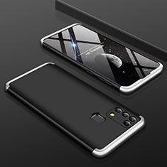 Custodia Plastica Rigida Cover Opaca Fronte e Retro 360 Gradi per Samsung Galaxy M21s Argento e Nero