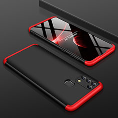 Custodia Plastica Rigida Cover Opaca Fronte e Retro 360 Gradi per Samsung Galaxy M31 Prime Edition Rosso e Nero