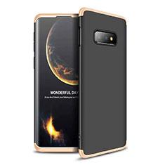 Custodia Plastica Rigida Cover Opaca Fronte e Retro 360 Gradi per Samsung Galaxy S10e Oro e Nero